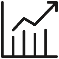 Outlined Graph Arrow Up